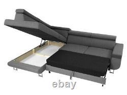 Corner Sofa Bed FONTI Storage Container Sleep Function Fabric New