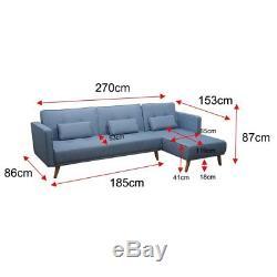 Corner Sofa Bed Folding Longue Fabric Sofa 3/4 Seater Couch Home Furniture Blue