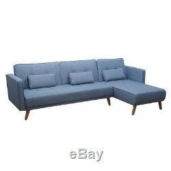 Corner Sofa Bed Folding Longue Fabric Sofa 3 Seater Couch Home Furniture Blue UK