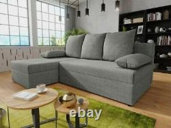 Corner Sofa Bed GIANI Storage Container Sleep Function Universal Side Grey New