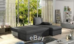 Corner Sofa Bed GINO with Storage Container Sleep Function Springs Universal New