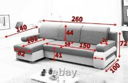 Corner Sofa Bed GREY with Storage Container Sleep Function Springs New
