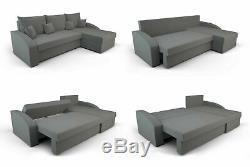Corner Sofa Bed HEWLET Grey White Modern L shaped compact sofa Storage