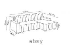 Corner Sofa Bed HUGO DB with Storage Container Springs New