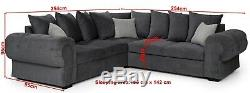 Corner Sofa Bed Horizon Grey Fabric Velour Chesterfield Style With Storage