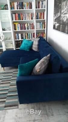 Corner Sofa Bed In Navy Blue Retro. With Storage. Sprung Seat
