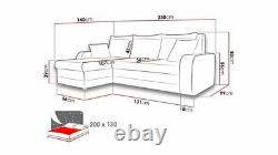 Corner Sofa Bed KRIS L BLACK WHITE with Storage Container Universal Side New