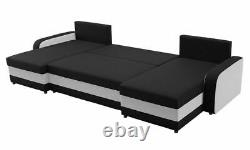 Corner Sofa Bed KRIS U with 3 Storage Containers Symmetrical New
