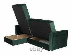 Corner Sofa Bed Kair Left Side Plush Bottle Green Brand New High Quality Free De