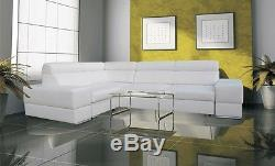 Corner Sofa Bed Kalipso faux leather or fabric, left or right hand corner