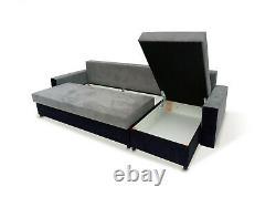 Corner Sofa Bed L Shape Storage Compartment Bonell Sprung Seat Multicoloured