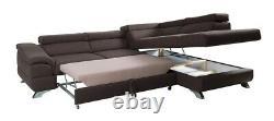 Corner Sofa Bed LAGOS Storage Sleeping Function Adjustable Headrest Modern New
