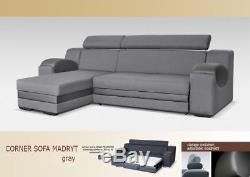 Corner Sofa Bed MADRYT with Storage Container Universal Side Sleep Function New