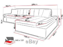 Corner Sofa Bed MALWI Storage Container Sleep Function Faux Leather Fabric New
