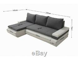Corner Sofa Bed MANHATTAN Grey Grey Modern L shaped compact sofa Storage