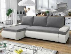 Corner Sofa Bed MANHATTAN Grey White Modern L shaped compact sofa Storage