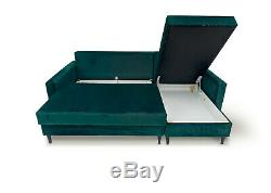 Corner Sofa Bed Modern Style Green Velvet Fabric Black Wooden Legs with Storage