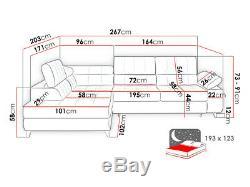 Corner Sofa Bed NORD Storage Container Sleep Function Fabric Elastic Foam New