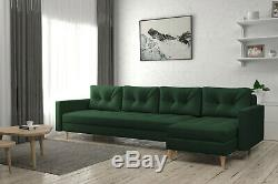 Corner Sofa Bed Navy Blue Fabric Scandinavian Style Great Choice FREE Assembly