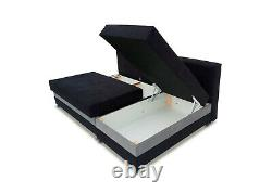 Corner Sofa Bed No Arm L Shape L-Shaped Contemporary Style Black Grey Fabric