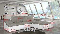 Corner Sofa Bed ONTARIO Storage Container Sleep Function New