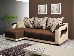 Corner Sofa Bed PARIS Sleep Function Bedding Container Bonell Springs New