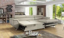 Corner Sofa Bed PHOENIX MINI with Storage Container Sleep Function Fabric New