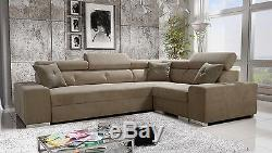 Corner Sofa Bed Palmyra left or right hand fabric or faux leather