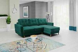 Corner Sofa Bed RETRO Green L shaped compact sofa Storage- Sprung seat