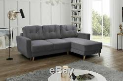 Corner Sofa Bed RETRO Grey L shaped compact sofa Storage Sprung seat