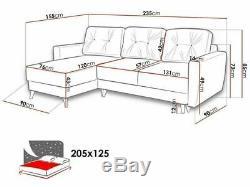 Corner Sofa Bed RETRO Navy blue L shaped compact sofa Storage- Sprung seat