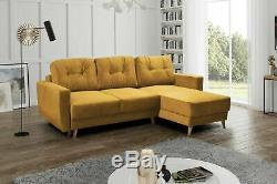 Corner Sofa Bed RETRO Yellow L shaped compact sofa Storage Sprung seat