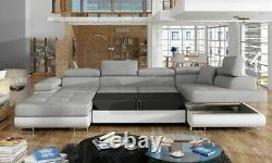 Corner Sofa Bed RODRIGO with Sleep Function Storage Container Fabric New