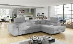 Corner Sofa Bed Relax Storage Grey Fabric Left Right site