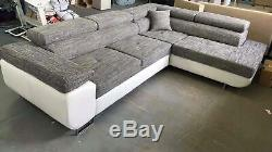 Corner Sofa Bed Relax Storage Grey White Faux Leather Left Right side