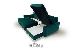 Corner Sofa Bed Scandinavian Style Velvet Fabric High Wooden Legs Storage Green
