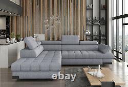 Corner Sofa Bed Selva With Storage Grey Fabric High Quality Sofa Sleep Function