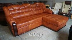 Corner Sofa Bed + Storage, Real Leather, Handmade, NEW, SALE
