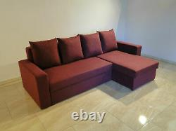 Corner Sofa Bed Storage Sprung Seat Grey Brown Red Burgundy Fabric FREE Assembly