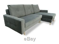 Corner Sofa Bed Storage Sprung Seat Grey Silver Quilted Fabric FREE Assembly HIT