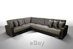Corner Sofa Bed TED 308/94/84 2xStorage Universal Springs New Big Fabric/Leather