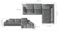 Corner Sofa Bed TIMOLA MINI with Storage Container Sleep Function Fabric New