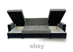Corner Sofa Bed U Shape Storage Compartment Bonell Sprung Seat Multicoloured