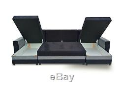 Corner Sofa Bed U Shape Storage Compartment Bonell Sprung Seat Zipped Cushions