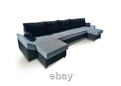 Corner Sofa Bed U Shape U-Shaped Storage Bonell Sprung Seat Grey Black Fabric