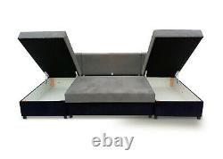 Corner Sofa Bed U Shape U-Shaped Storage Compartment Sleep Function Sprung Seat