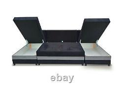Corner Sofa Bed U Shape U-Shaped Storage Sleep Function Sprung Seat Black Grey