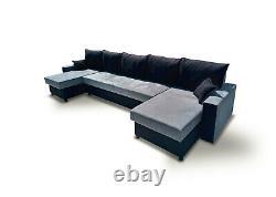 Corner Sofa Bed U Shape U-Shaped with Storage Bonell Sprung Seat Multicoloured
