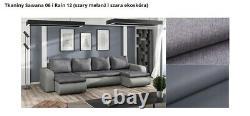Corner Sofa Bed U Shape with spring seat & one storage in Dark Grey & Grey