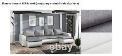 Corner Sofa Bed U Shape with spring seat & one storage in Light Grey & White